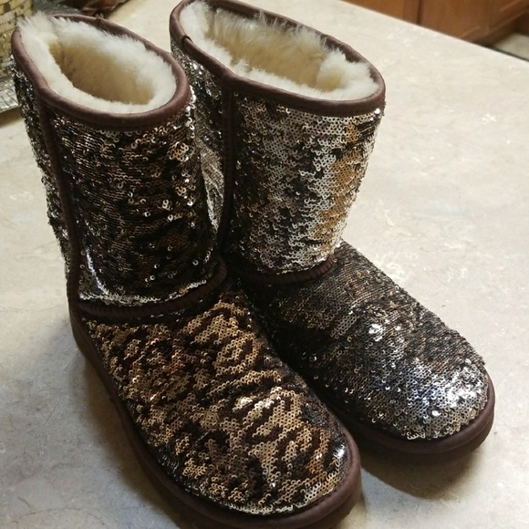 ugg shoes | sequin leopard print boots size 7 | poshmark